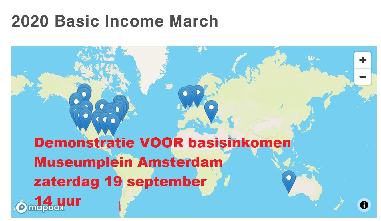 Demonstratie VOOR basisinkomen Amsterdam 13 uur zaterdag 19 september
